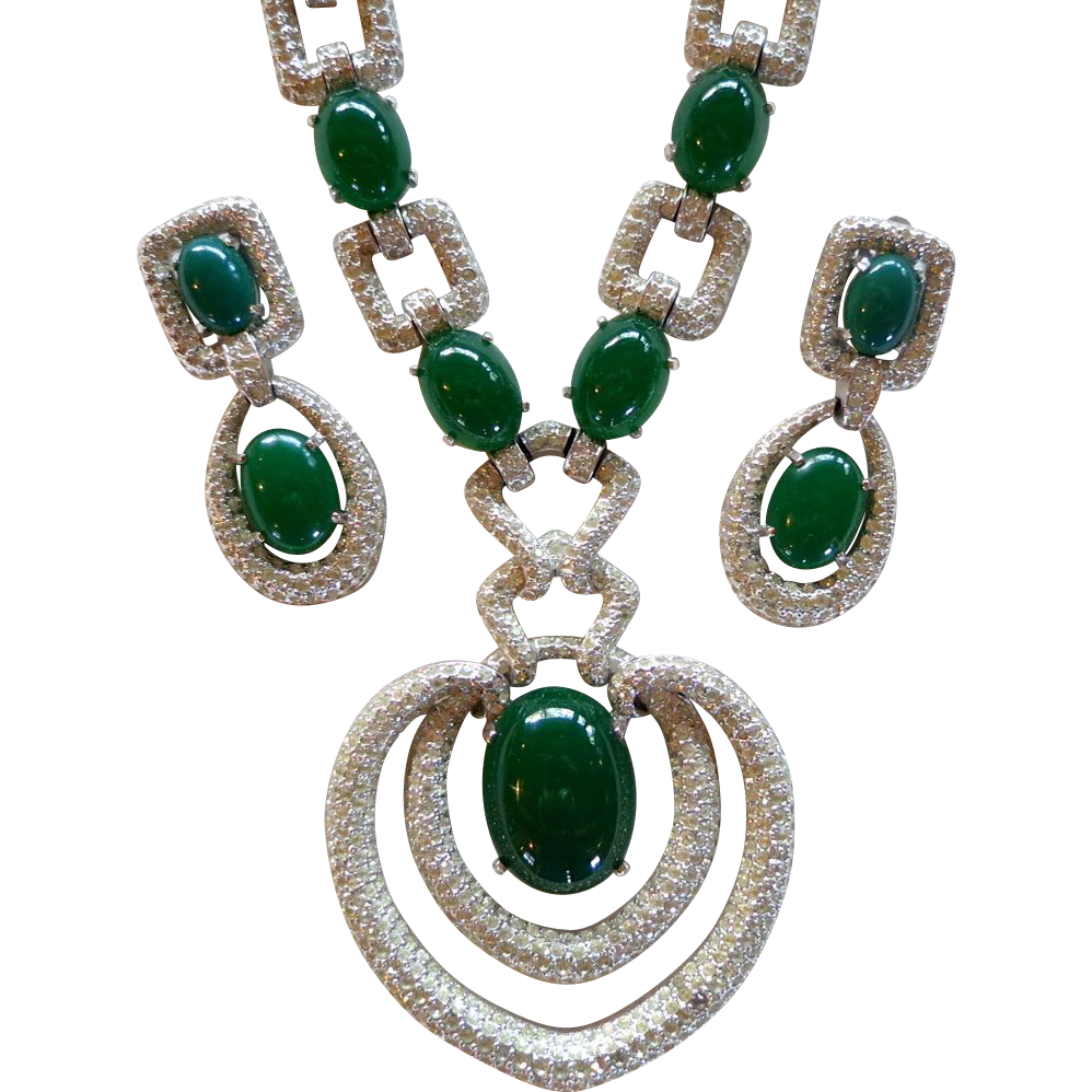 Couture Runway Mazer Jomaz Faux Jade & Rhinestone Necklace Set