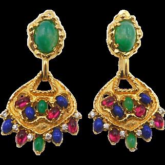 Vintage Jomaz Rhinestone Chandelier Clip Earrings Mogul Color Cabochons