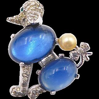 Vintage Jomaz Rhinestone Blue Glass Cabochon Poodle Brooch