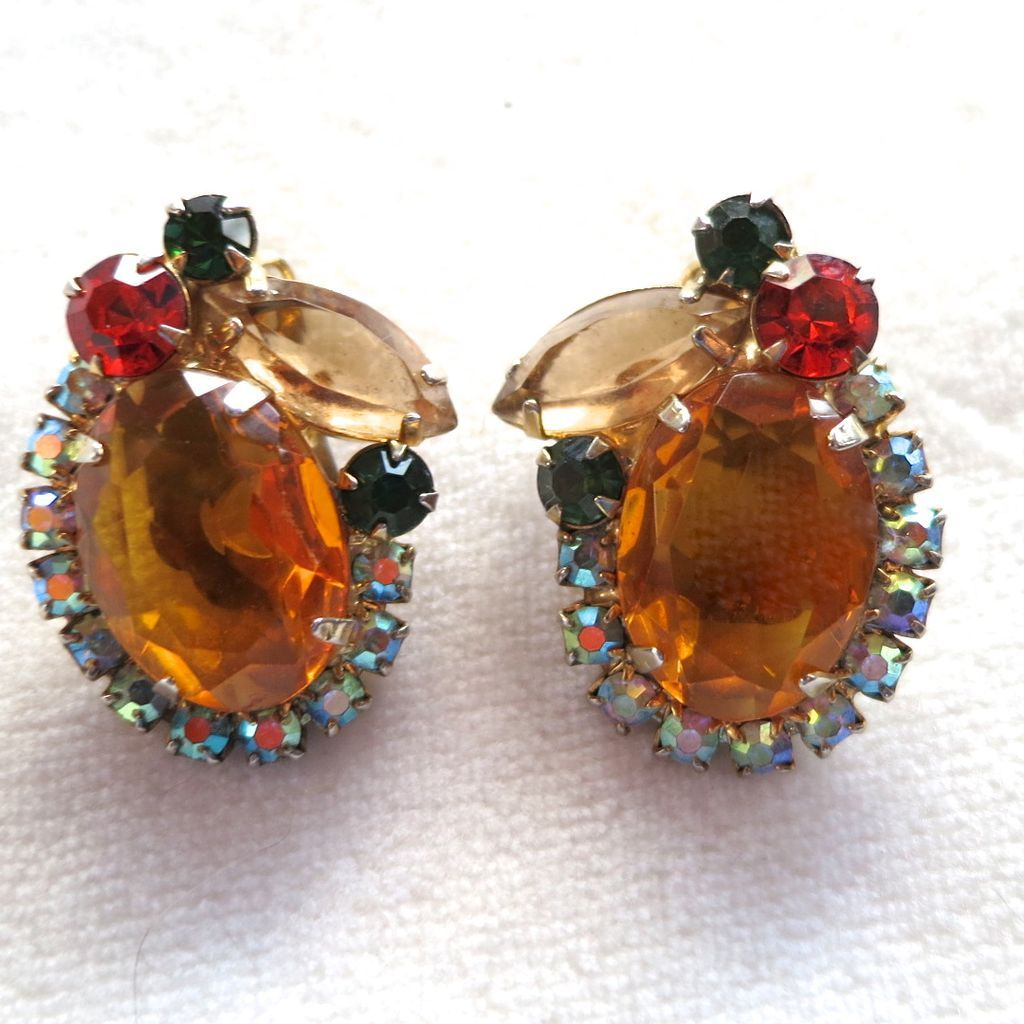 D&E Juliana oval amber & topaz navette rhinestone earrings