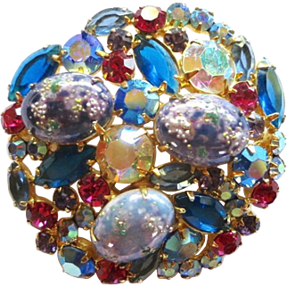 Vintage Juliana D&E Blue Easter Egg Rhinestone Brooch Book Piece