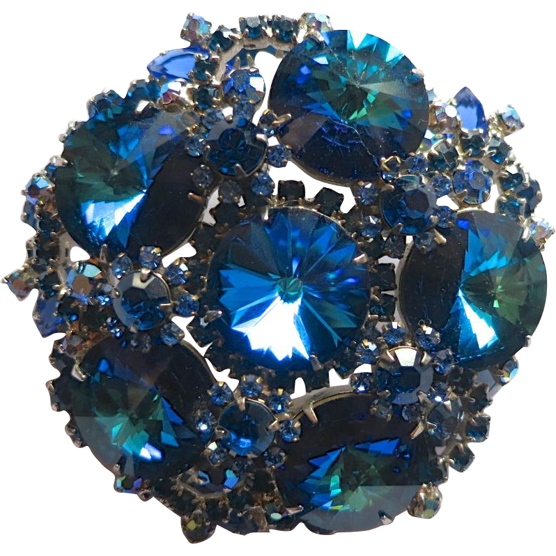 Juliana D&E Blue Heliotrope Rivoli Rhinestone Brooch Book Piece