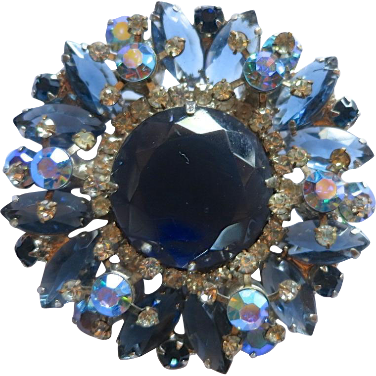 D&E Juliana Shades of Blue Rhinestone Brooch
