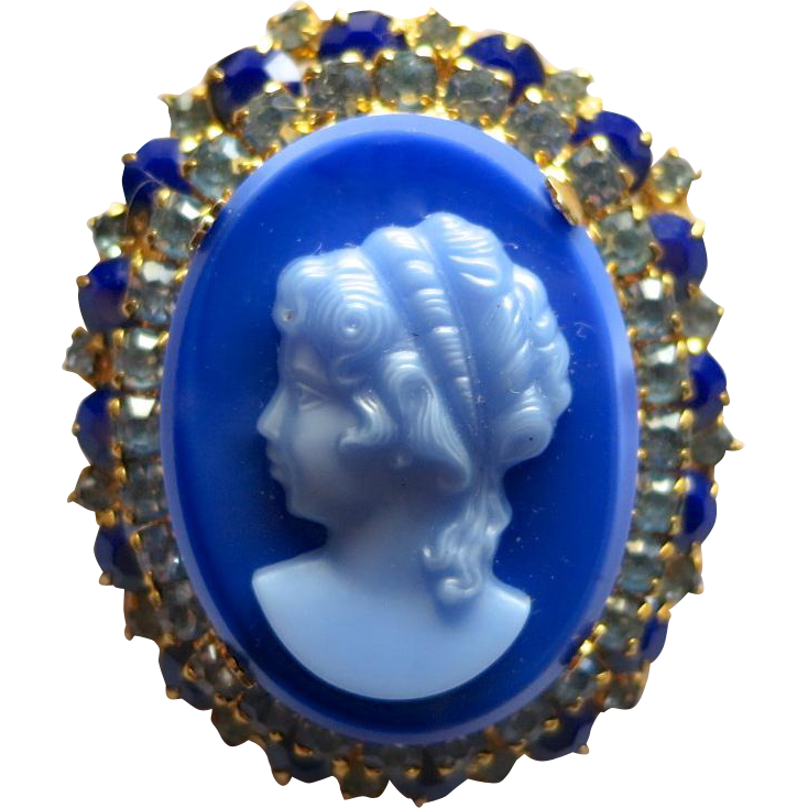 Juliana D&E Blue Cameo Brooch Book Piece!