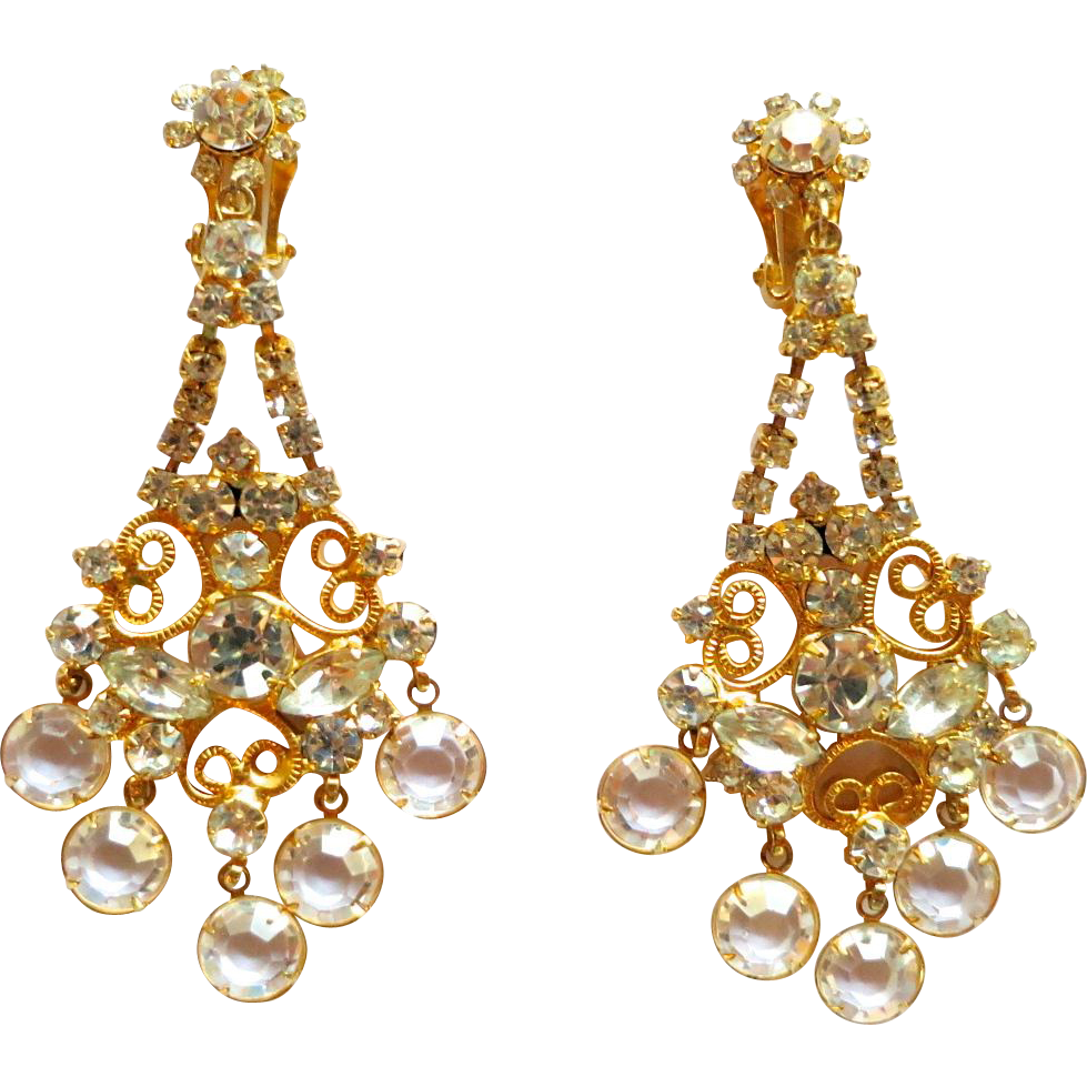 D&E Juliana Clear Rhinestone and Crystal Dangles Chandelier Earrings