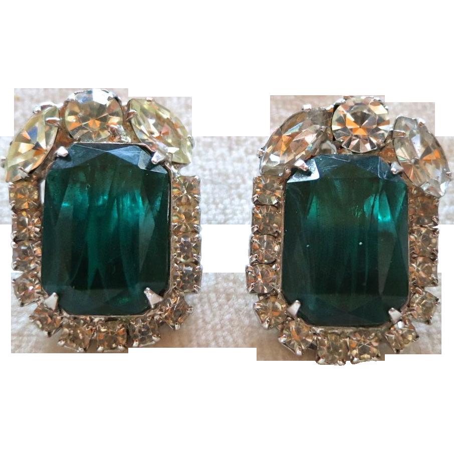 "D&E Juliana ""flawed"" emerald green rhinestone earrings"