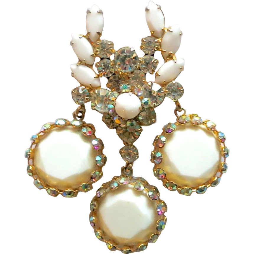 D&E Juliana Milk glass Framed Discs & Rhinestone Pin Pendant