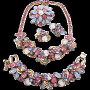 Vintage Juliana Pink Blue Givre Rhinestone Necklace Bracelet Brooch Earrings