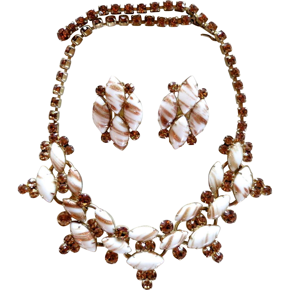 "D&E Juliana  Faux Topaz & ""Gold Fluss"" Rhinestone Necklace Set"
