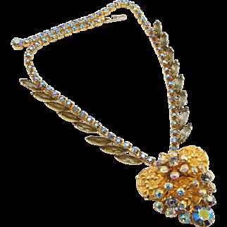 Vintage Juliana DE Gold Metal Stone and Grey Rhinestone Necklace Book Piece