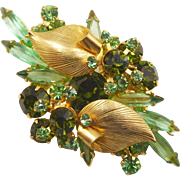 Juliana D&E Peridot, Olivine Green Rhinestone Brooch with Gold Leaves Accents