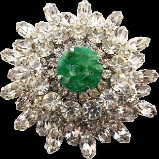 Vintage DE Juliana Clear Rhinestone Faux Jade Green Molded Pressed Glass Brooch