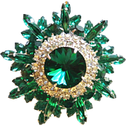 D&E Juliana Emerald Green Rivoli Rhinestone Brooch