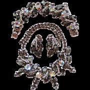 "D&E Juliana grey ""black diamond"" rhinestone parure"