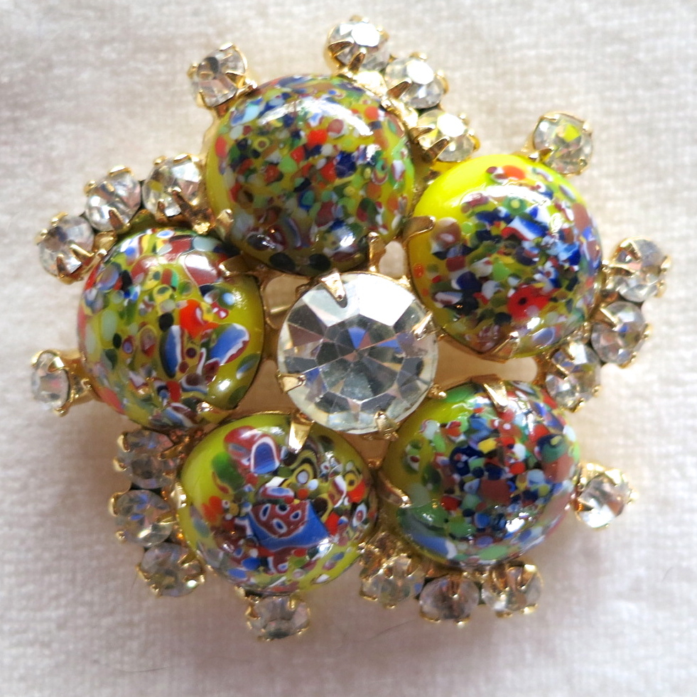 D&E Juliana Harlequin Multicolored Cabochon & Rhinestone Brooch