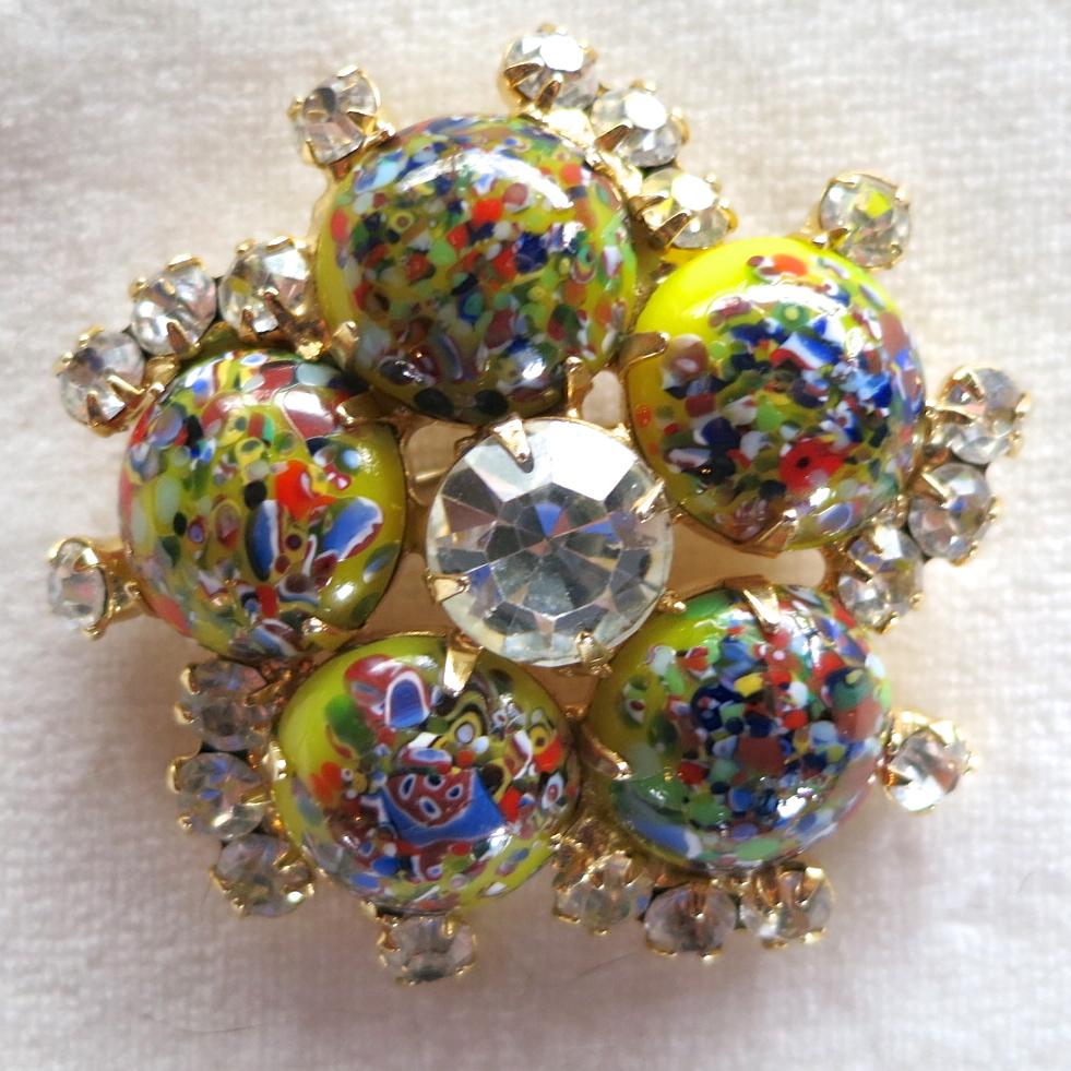 D&E Juliana Harlequin Multicolored Cabochon & Rhinestone Brooch