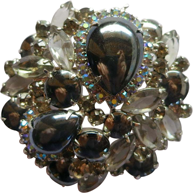"DeLizza & Elster Juliana Hematite Gray ""Black Diamond"" Rhinestone Brooch"