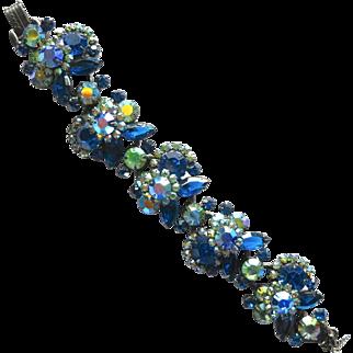 Vintage Juliana D&E Capri Blue Green AB Rhinestone Japanned Bracelet