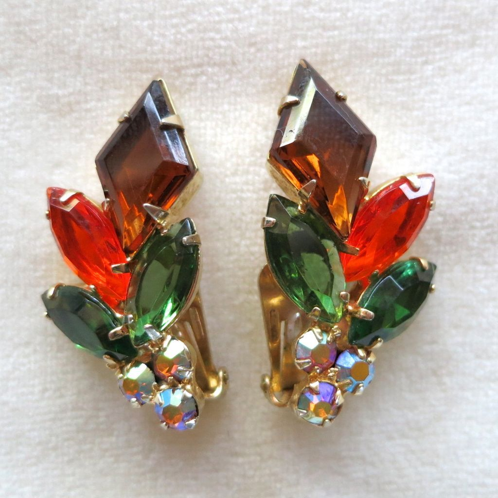 D&E Juliana Faux Topaz Kite & Navette Rhinestone Earrings