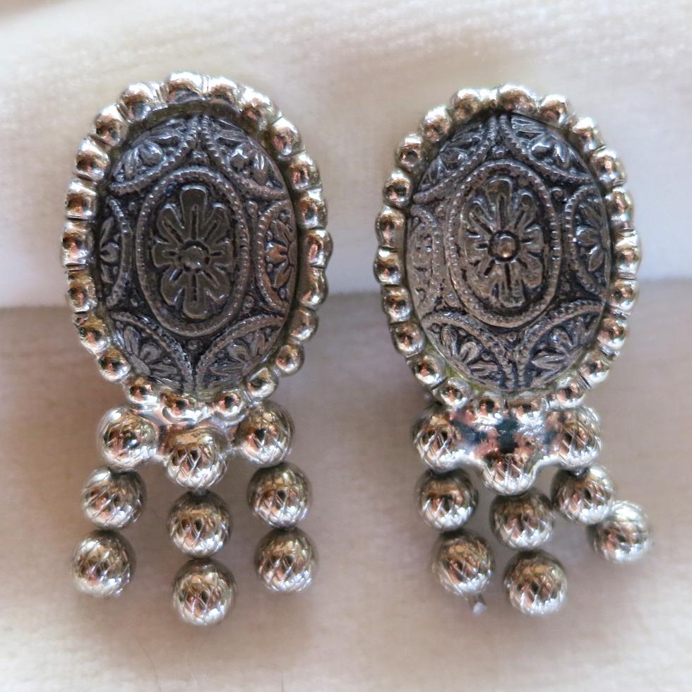 D&E Juliana black painted mosaic and ball chain earrings