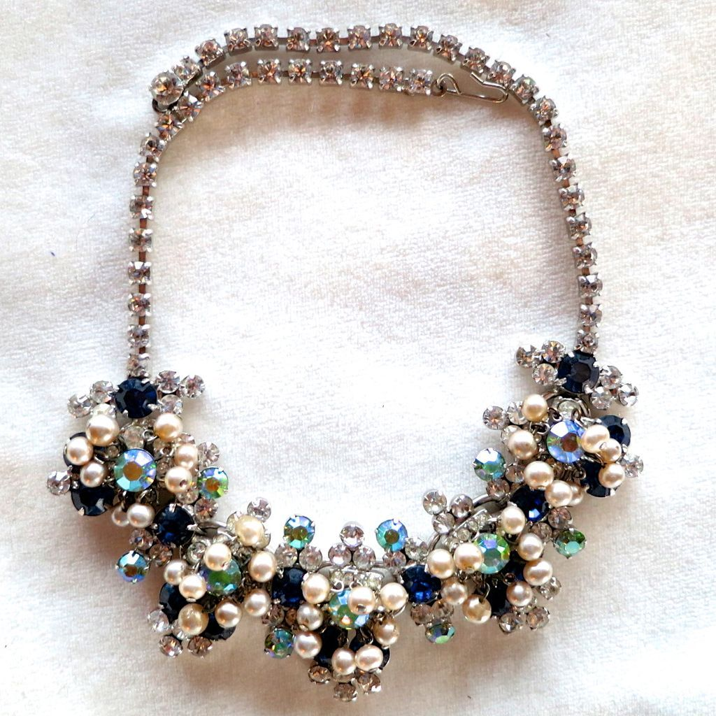 D&E Juliana drippy faux pearl, blue and green AB rhinestone necklace