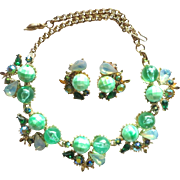 Julio Marsella Green Beads AB Rhinestone Necklace Set