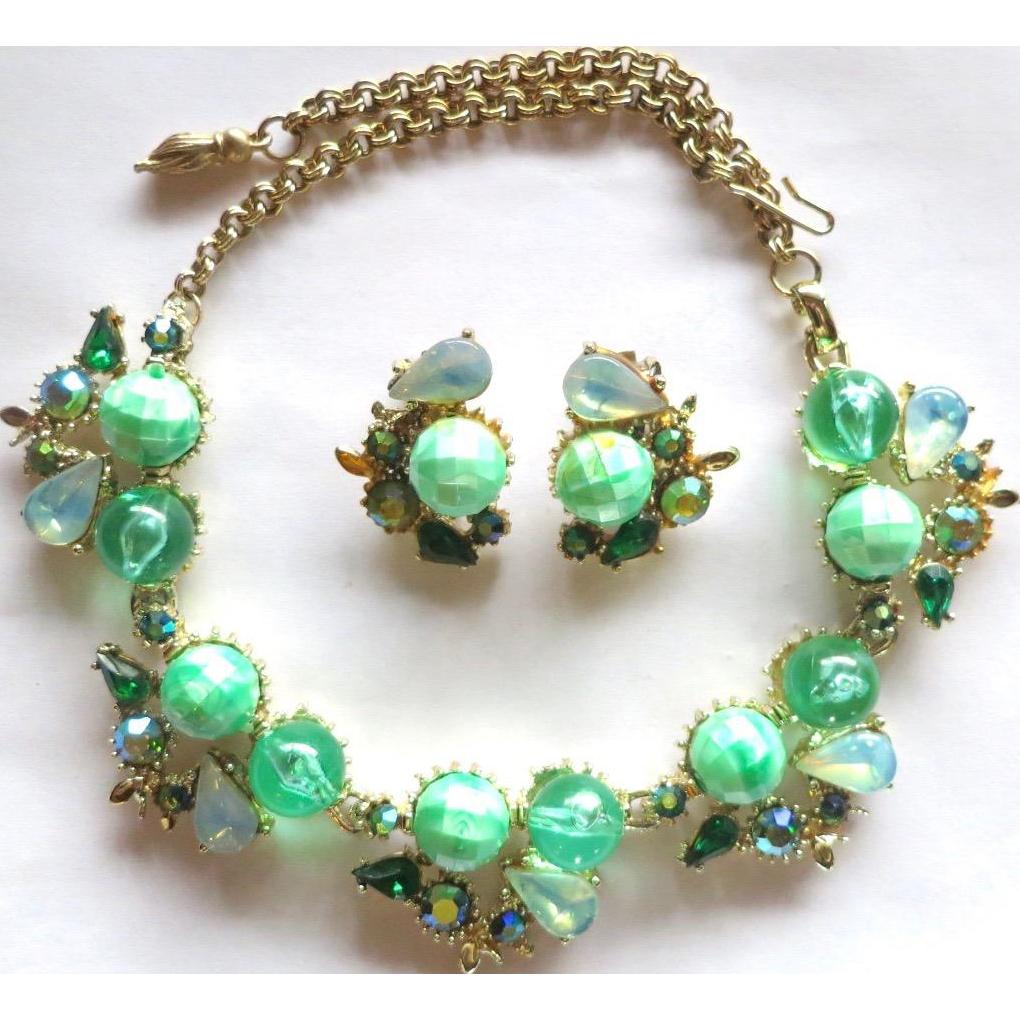 Julio Marsella Green Beads AB Rhinestone Necklace Set
