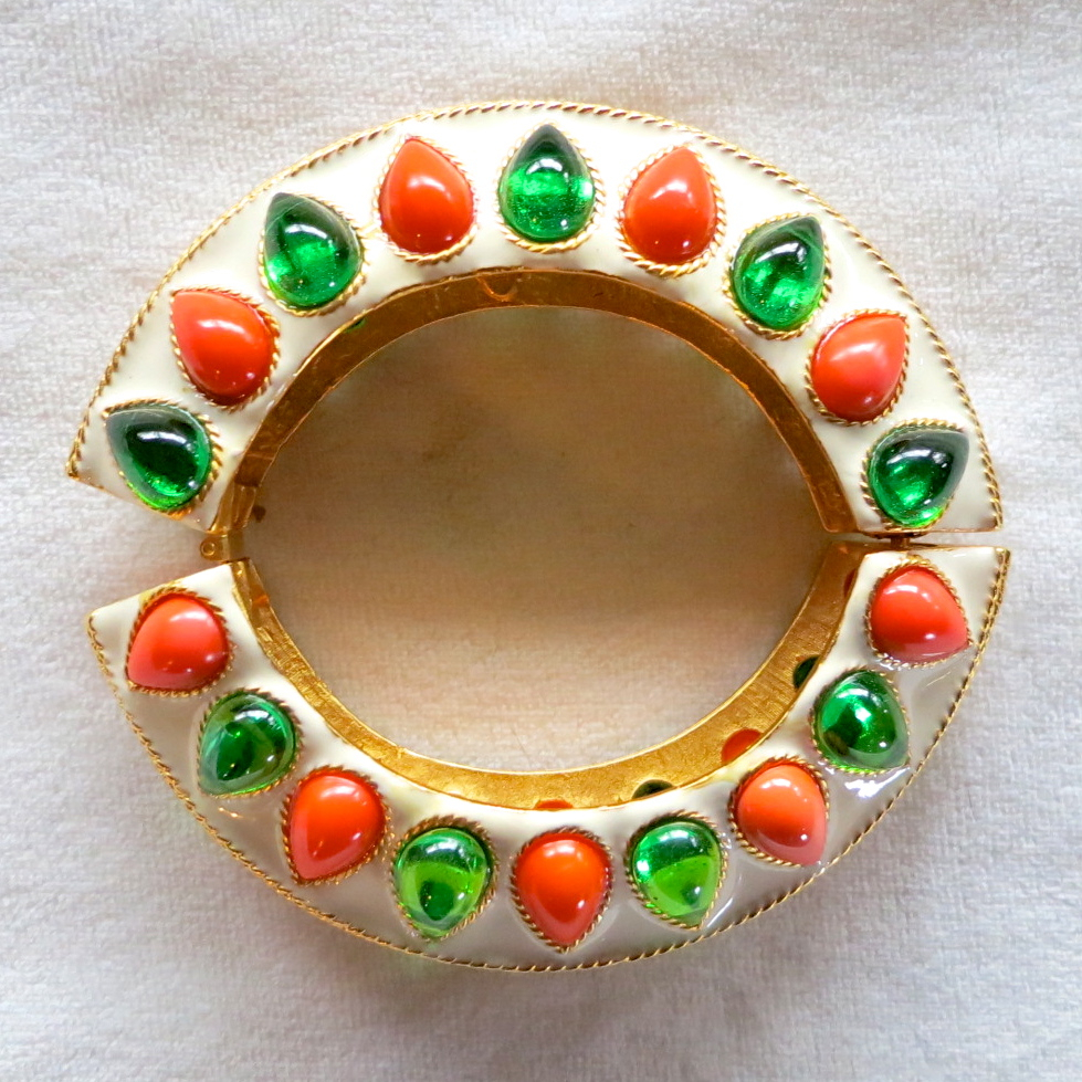 KJL Mogul style white enamel, orange & green cabochons hinged bracelet BOOK PIECE!