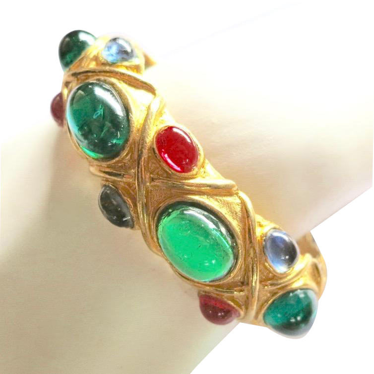 Vintage K.J.L. Mogul Green Red Blue Cabochons Clamper Bracelet
