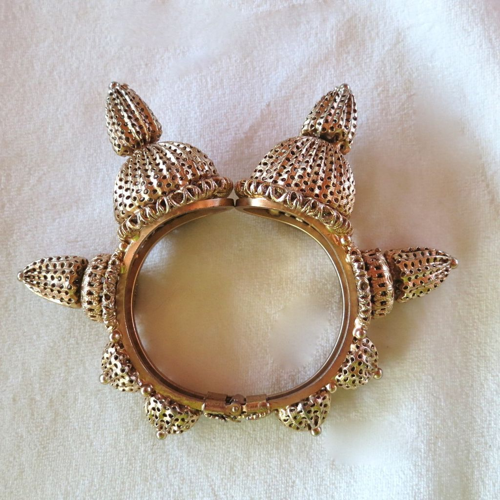 RARE KJL 1960's Couture runway acorn horn clamper bracelet BOOK PIECE!