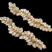 Kenneth Jay Lane KJL Trailing Vines Rhinestone Earrings 5 Inches