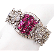 Knoll and Pregizer Germany Sterling Faux Rubies Paste Art Deco Bracelet 1930s