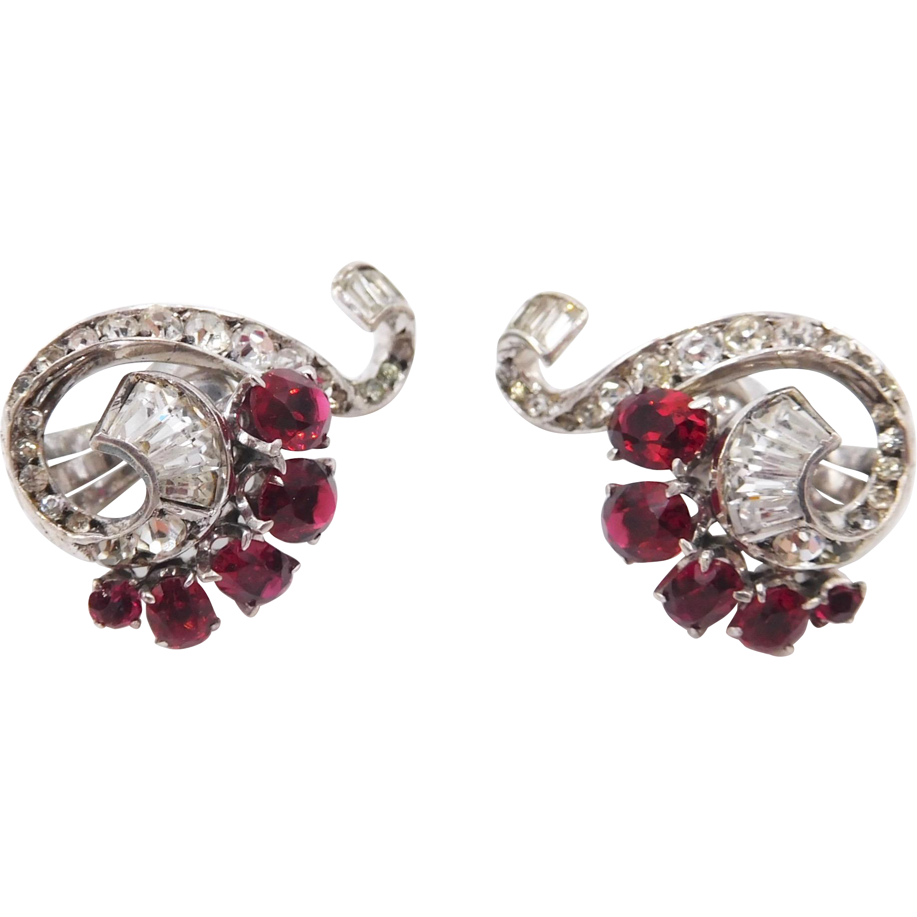 Knoll and Pregizer Germany Sterling Faux Rubies Paste Art Deco Clip Earrings