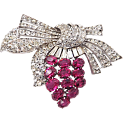 Knoll and Pregizer Germany Sterling Faux Rubies Paste Art Deco Brooch 1930s
