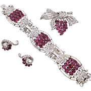 Knoll and Pregizer Germany Sterling Faux Rubies Paste Art Deco Parure 1930s