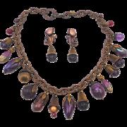 Vintage Kat Hines Purple Charms Necklace Set