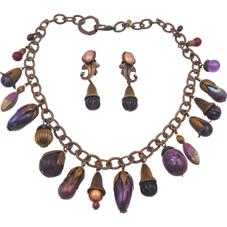 Vintage Kat Hines Purple Charms Necklace Set