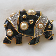 Vintage KJL Kenneth Jay Lane black enamel, rhinestone, and faux pearl rhino brooch