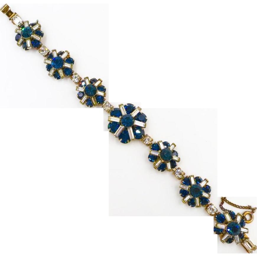 Vintage Kramer Blue Clear Baguette Rhinestone Bracelet