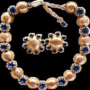 Kramer textured gold tone & blue rhinestone necklace set