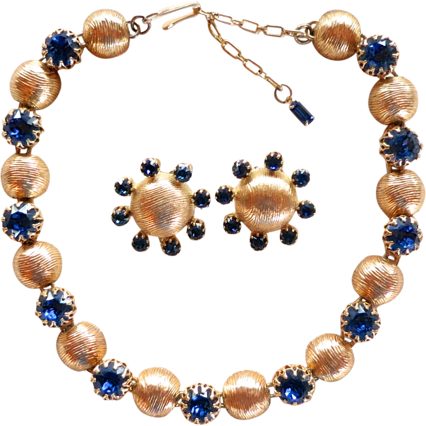 Kramer textured gold tone & blue rhinestone necklace set