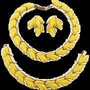 Vintage Kramer Yellow Thermoset Plastic Leaves Parure