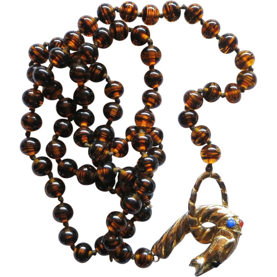 Les Bernard Brown Glass Beads and Jeweled Panther Head Clasp Necklace