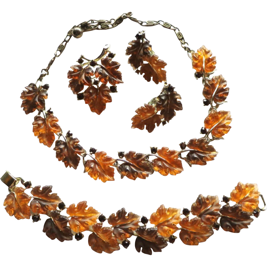 Vintage Lisner Lucite Rhinestone Fall Leaves Necklace Bracelet Brooch Earrings
