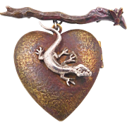 Vintage Heart Locket Brooch with Lizard