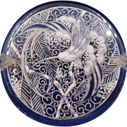 Vintage Lucite Reverse Carved Floral Bird Brooch