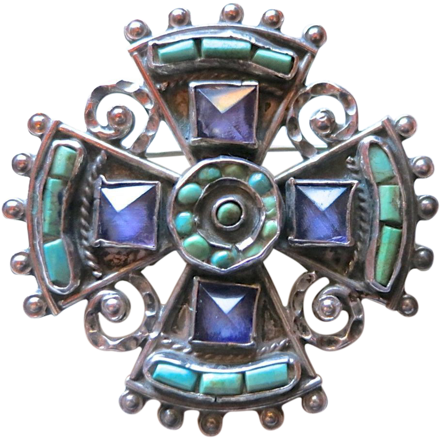 MATL Matilde Poulat Mexican Sterling Amethyst Turquoise Maltese Cross Brooch
