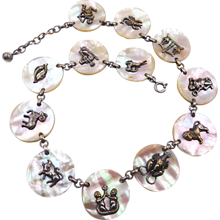 Vintage Sterling Mother of Pearl Zodiac Necklace