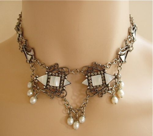 Mary Demarco MOP and rhinestone dangles festoon necklace