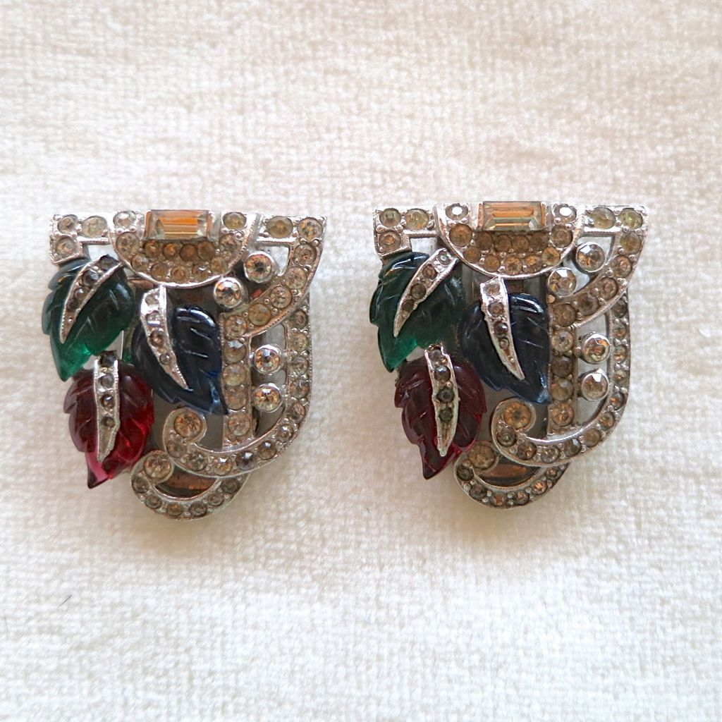 Art Deco Mazer Fruit Salad Leaves Rhinestone Dress Clips